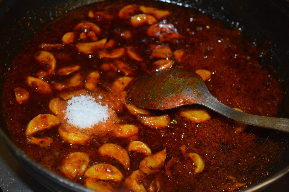 Add salt and stir the mixture.