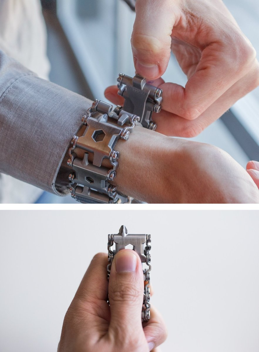 A mixture of 29 Leatherman tools into an everyday wearable accessory.