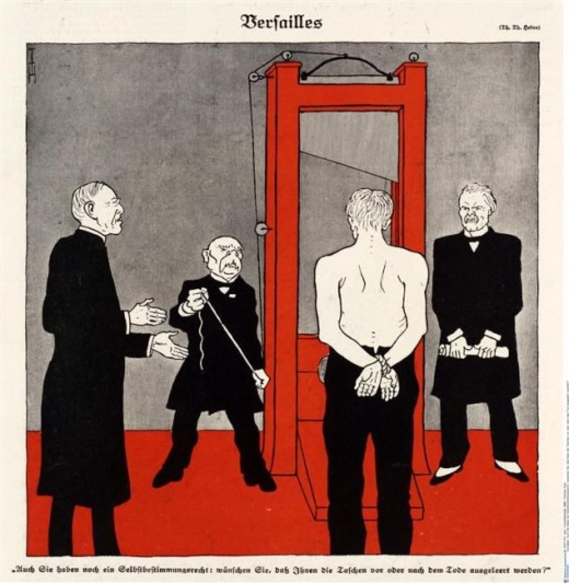 A typical German vision of the treaty: an allegorical Germany is faced with a guillotine, held by Clemenceau and watched by the British and Americans. Also painfully inaccurate.