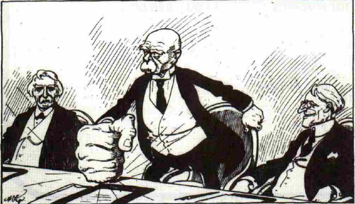 George Clemenceau portrayed as a an anti-German hawk who uses force to get his own way : a previous plate in the document drew allusion to the German militarist government doing the same thing, to deprive Allied legitimacy.