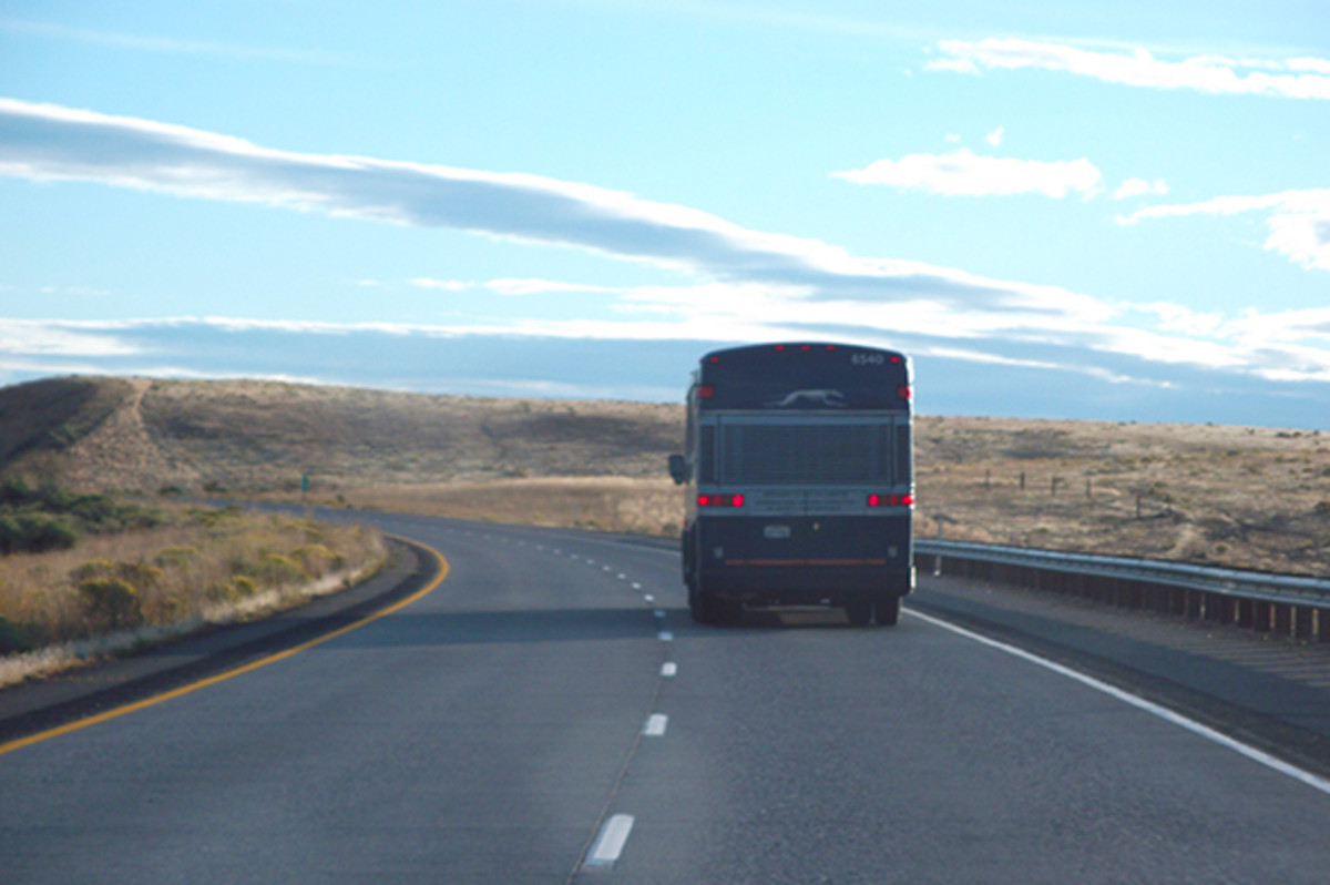 You may have trouble connecting to the Wifi on the Greyhound bus in rural areas.