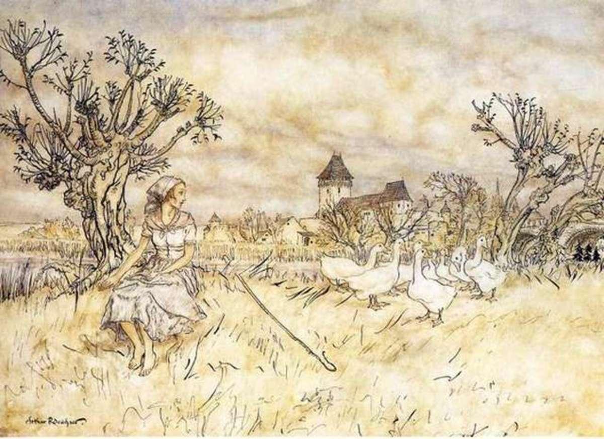 The Goose Girl illustrated by Arthur Rackham