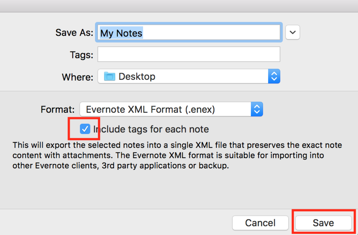 "Make sure the box ""Include tags for each note"" is checked and click ""Save""..."