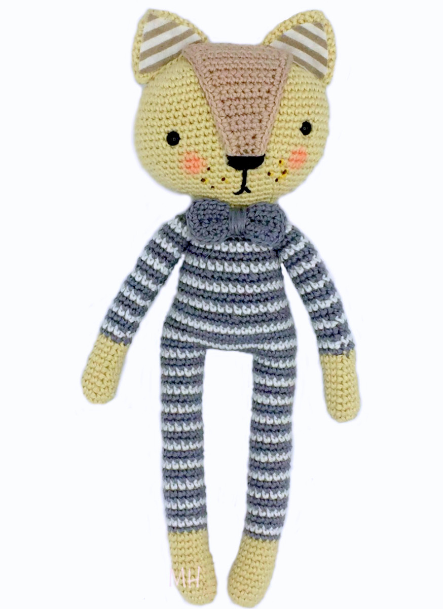 Free Crochet Pattern: Cat In Striped Pajamas Amigurumi Doll