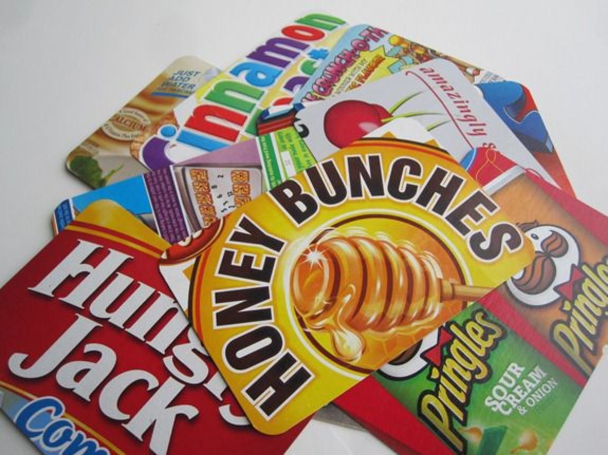 Postcards made out of Cereal Boxes
