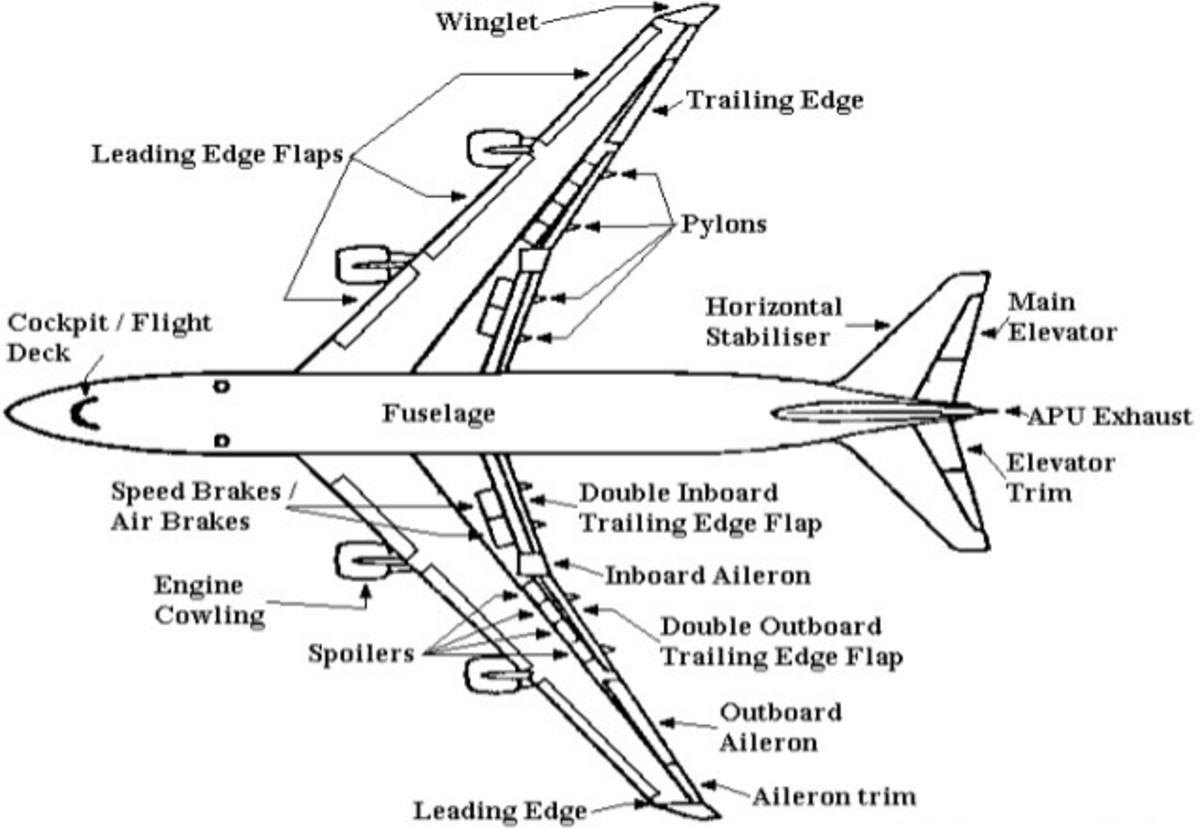 This diagram shows an overhead view of the exterior parts of a jet.