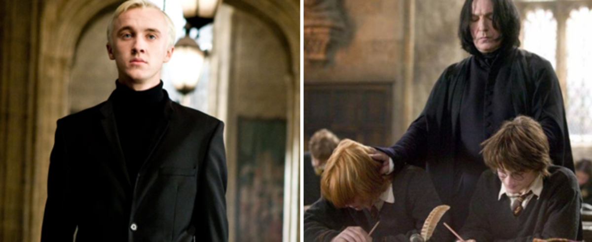 Malfoy and his bullying Professor Snape.