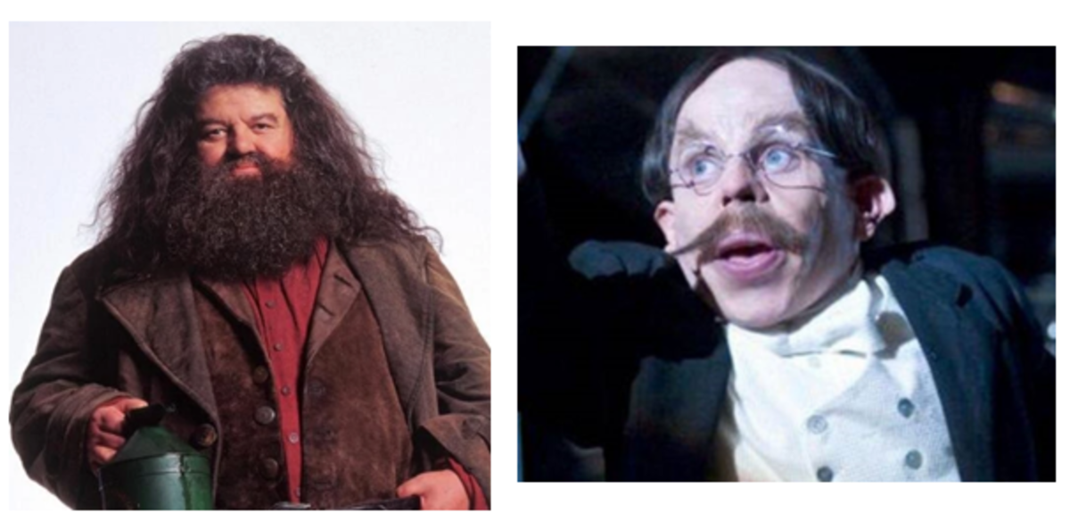 Hagrid and the tiny Flitwick.