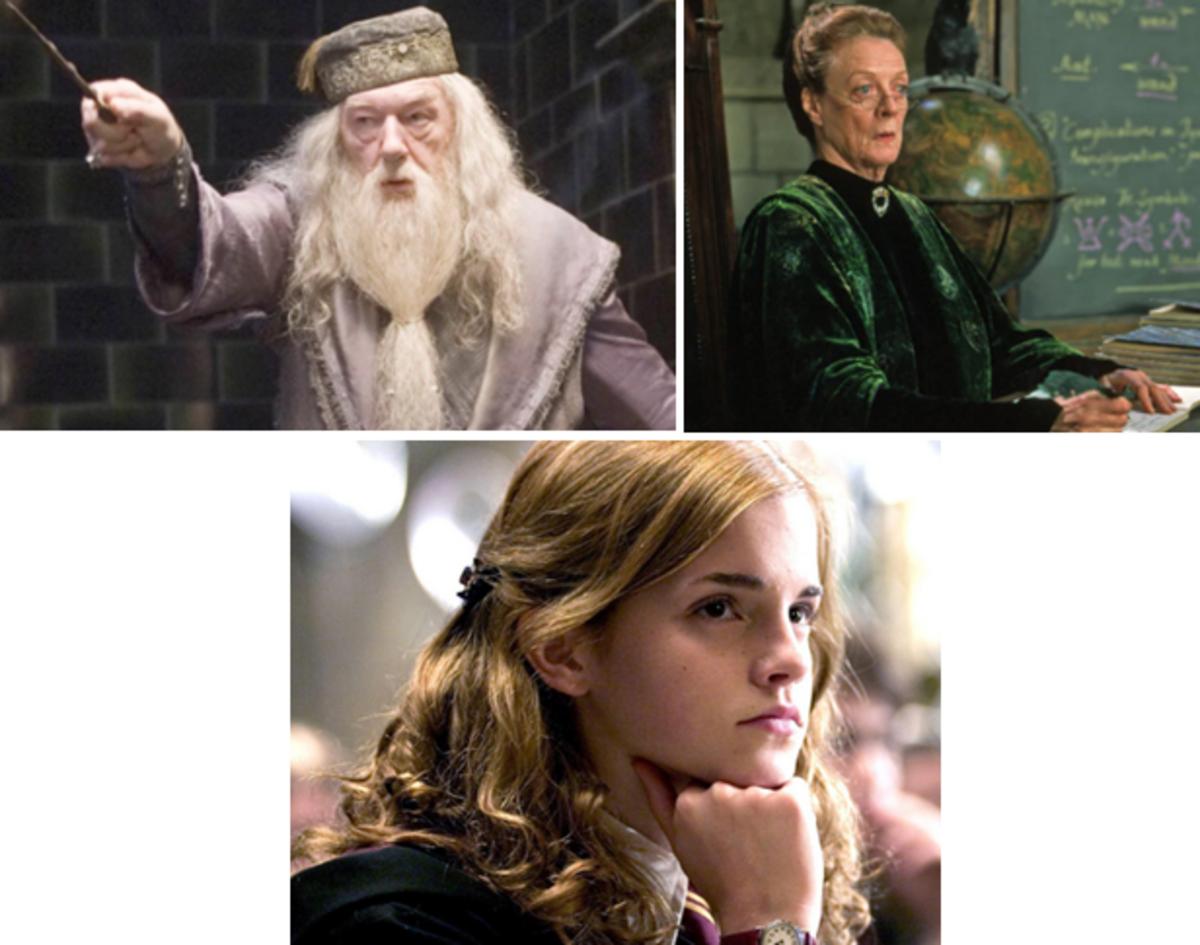 Clockwise; Albus Dumbledore, McGonagall and Hermione Granger.