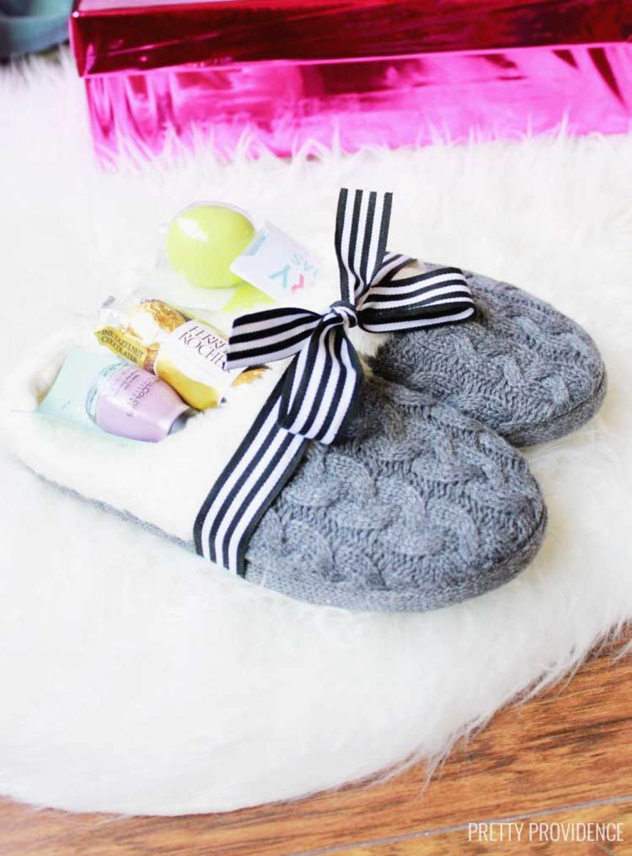 Slippers filled with treats are a cozy, and fun Mother's Day Gift!