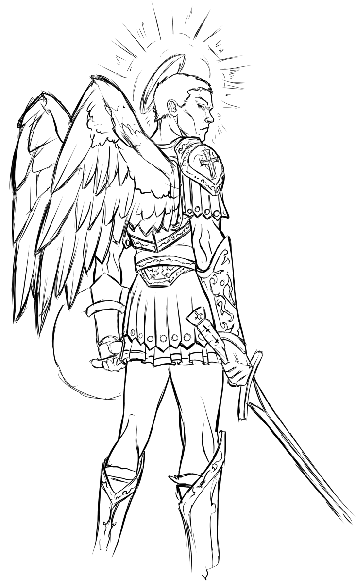 Is this warrior angel a noble protector or a fearsome foe?