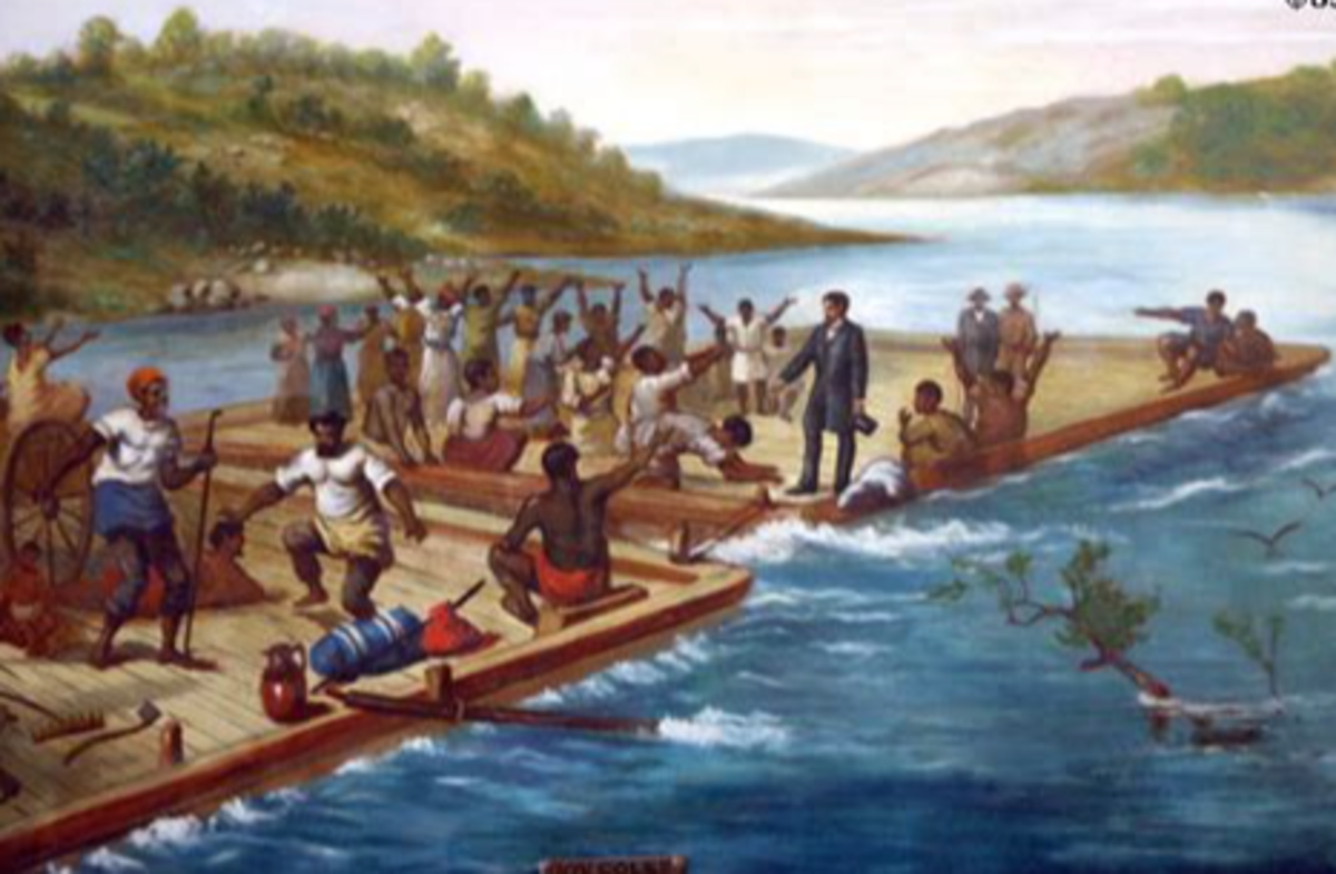 artistic rendering of Lincoln's viewing of slaves on the Ohio river