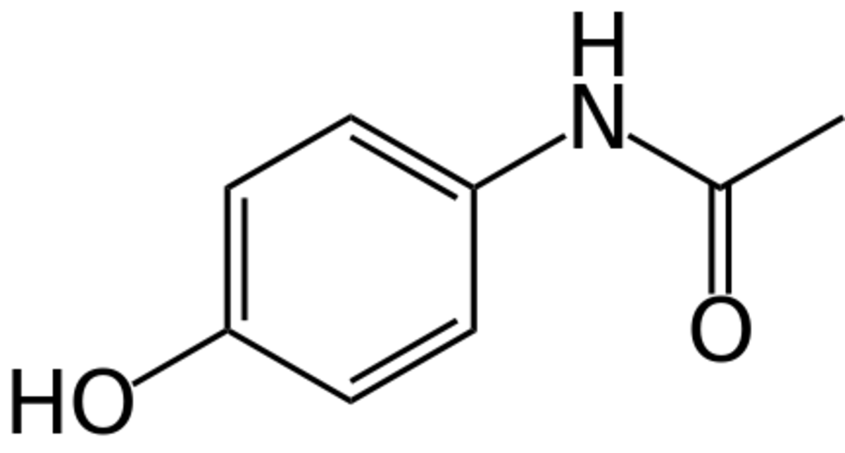 The chemical structure of paracetamol (acetaminophen).