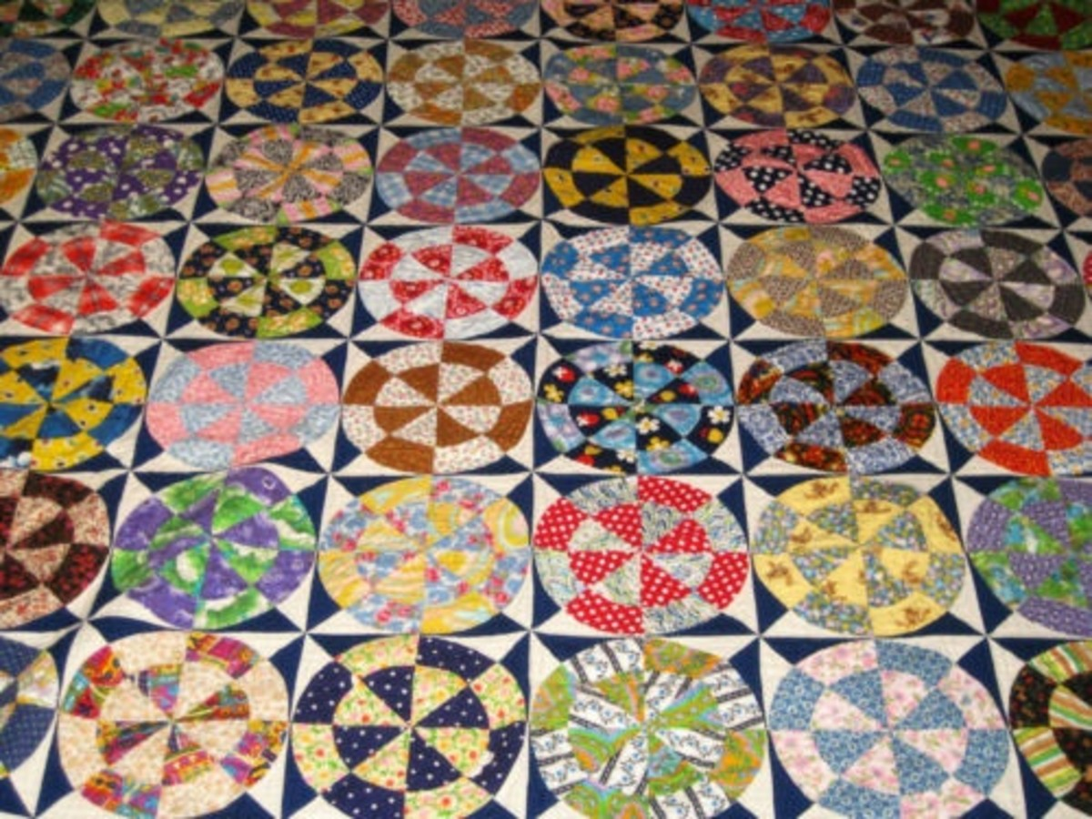 Beautiful example of a Wagon Wheel pattern quilt.