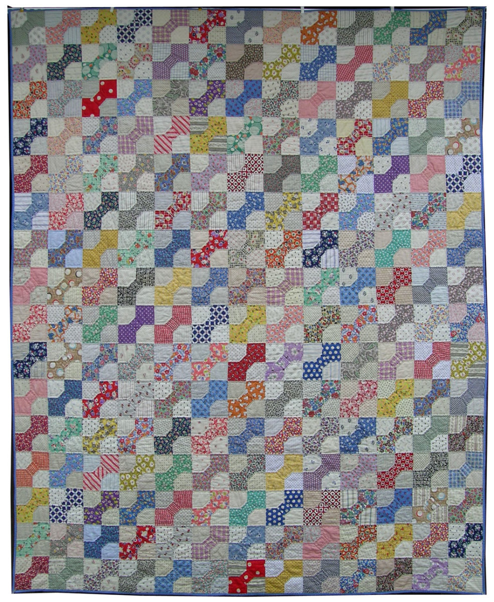 Beautiful colorful bowtie quilt pattern.