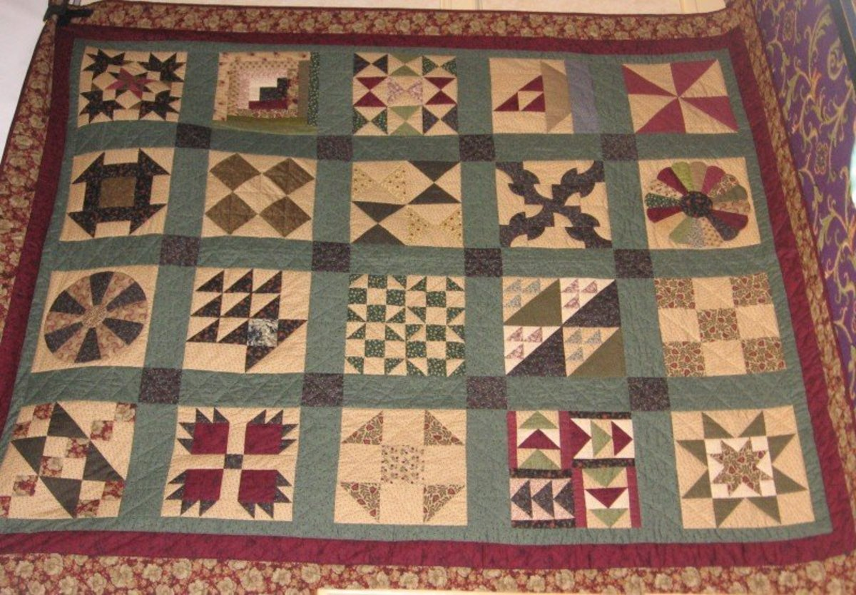 Quilt showing many of the Underground Railroad Quilt squares.