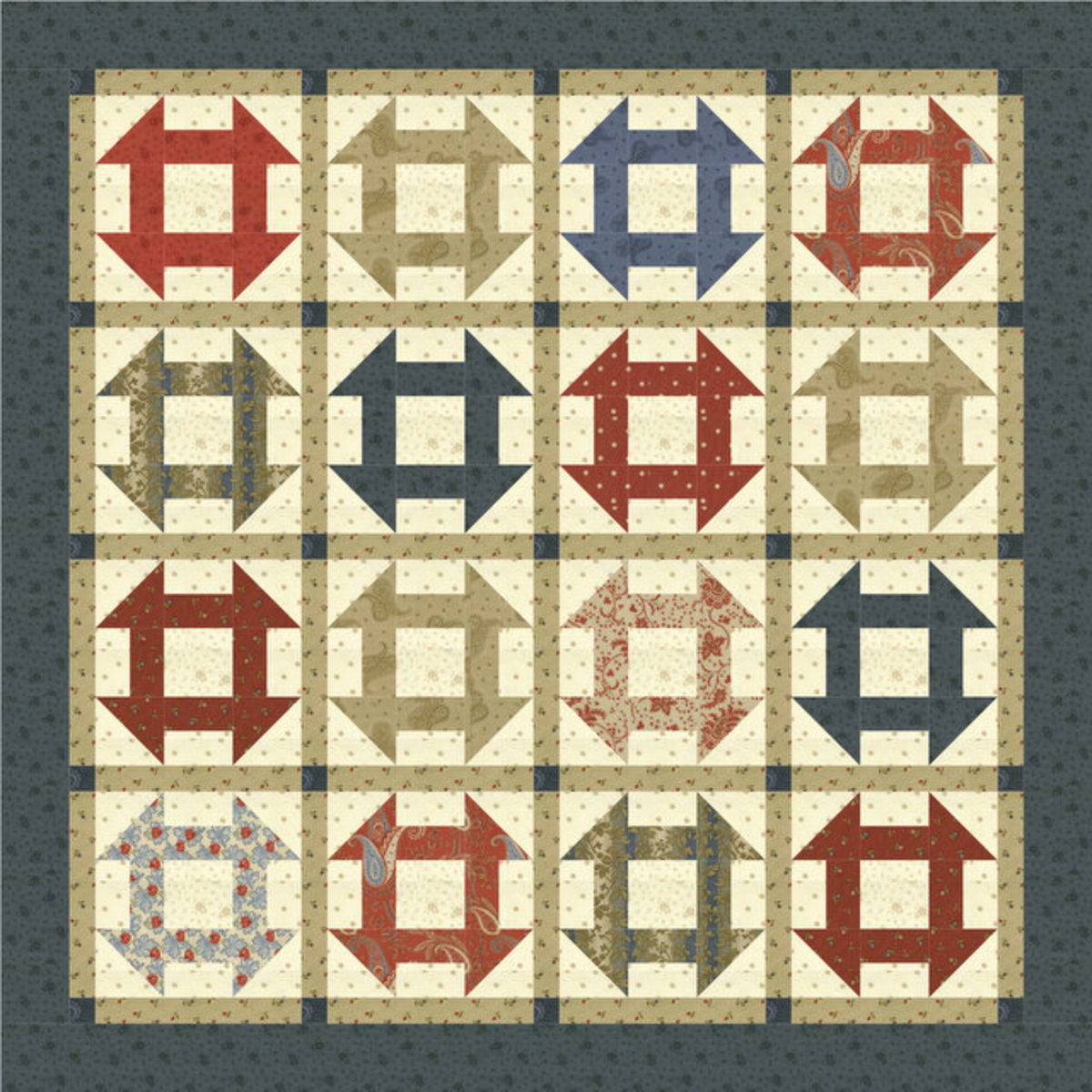 This is a double monkey wrench quilt square pattern.