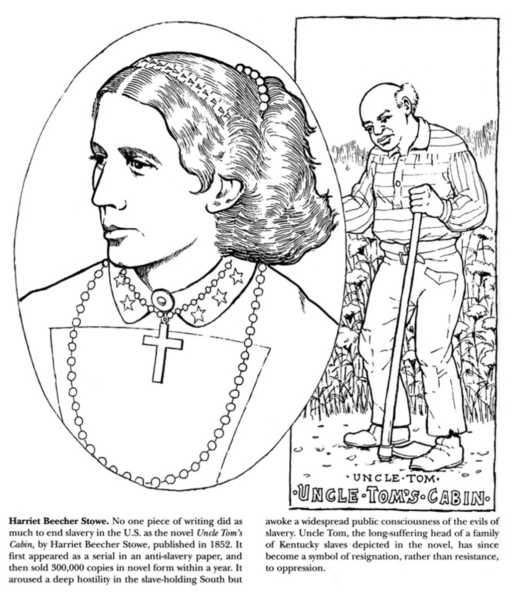 Harriet Beecher Stowe coloring page from http://www.doverpublications .com/