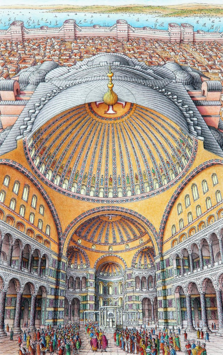 Inside-out drawing of Hagia Sophia, by Stephen Biesty