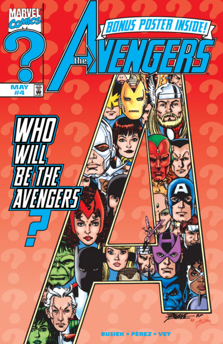 Cover to Avengers #4 vol 3 (1998). Firestar and Vance Astrovik join Avengers as reserve members.