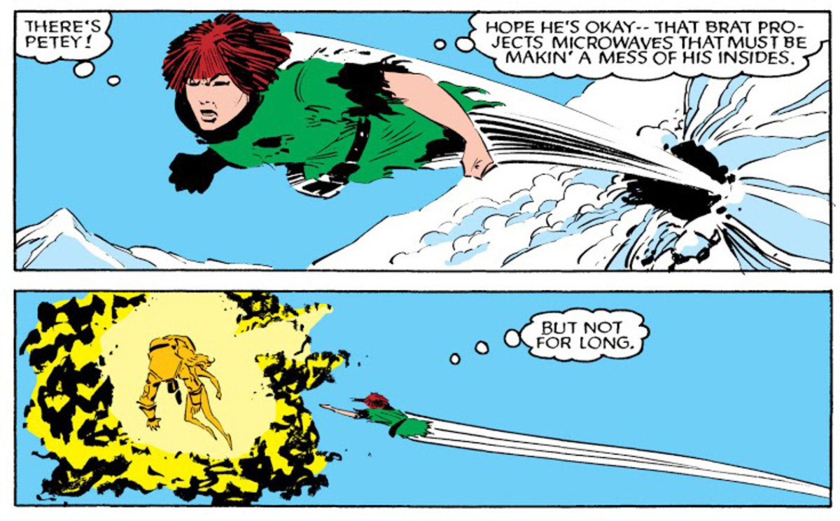 Panels from Uncanny X-Men #193 in which Rogue reveals that Firestar projects microwaves