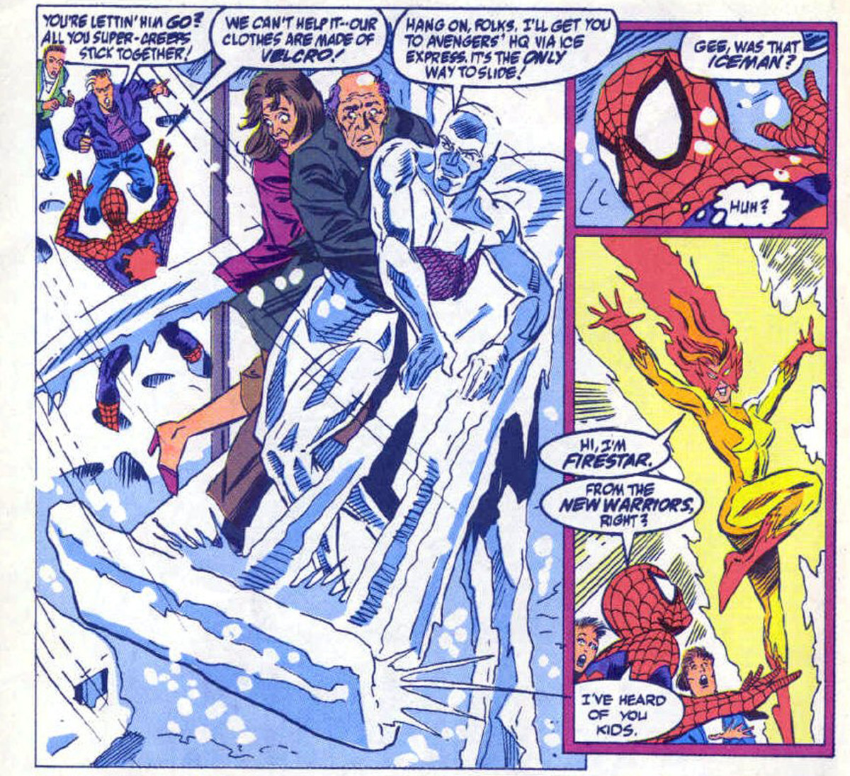 Panels from Web of Spider-Man #75, depicting the first in-continuity meeting of Spider-Man and Firestar.