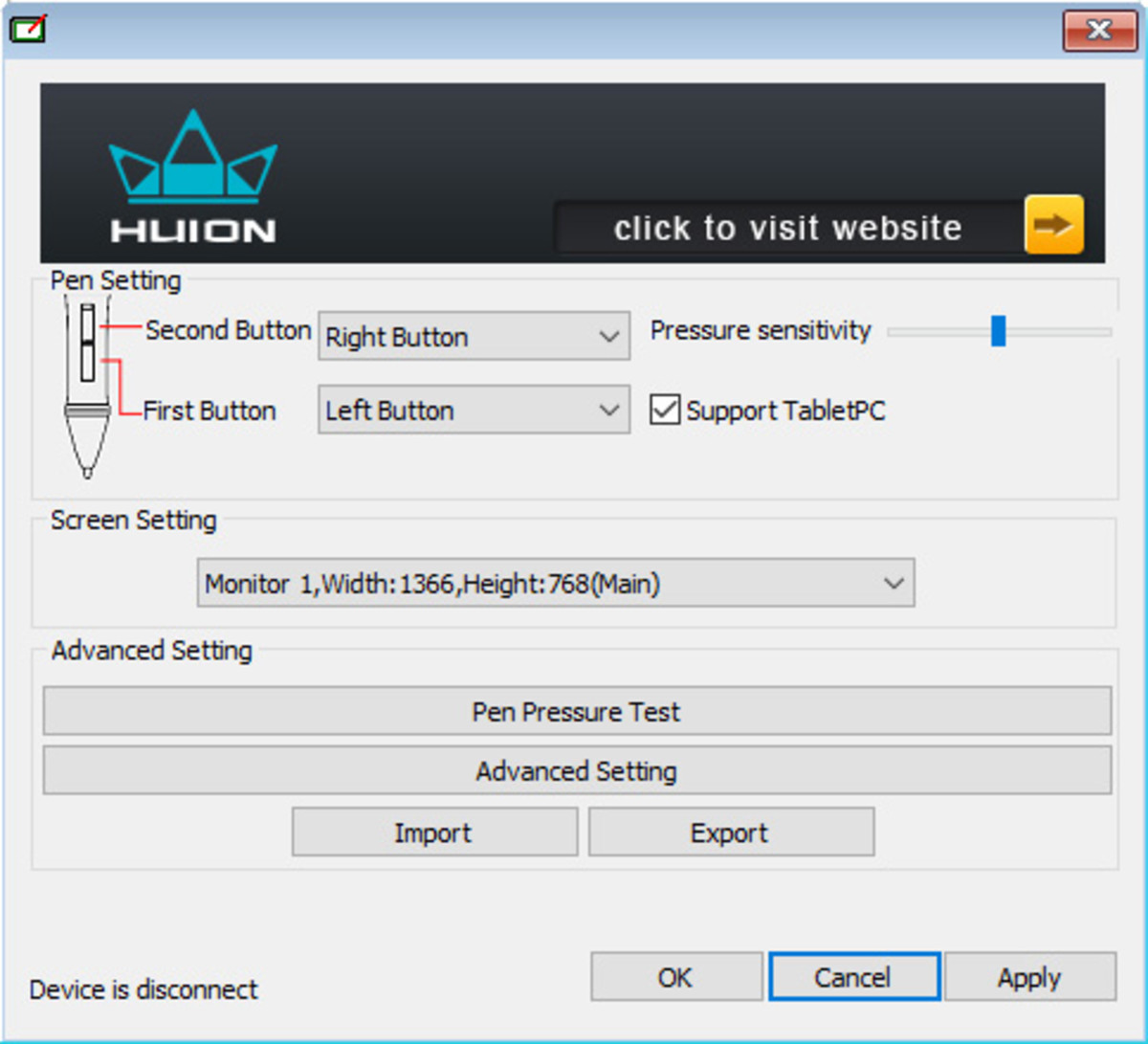 Huion H610 Pro driver interface.