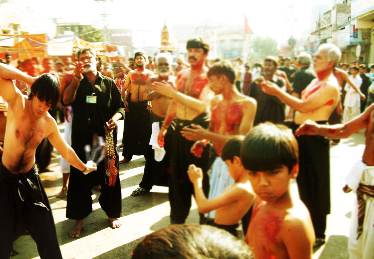 Image of a Muharram procession in Tando Jahania at Hyderabad, Sindh