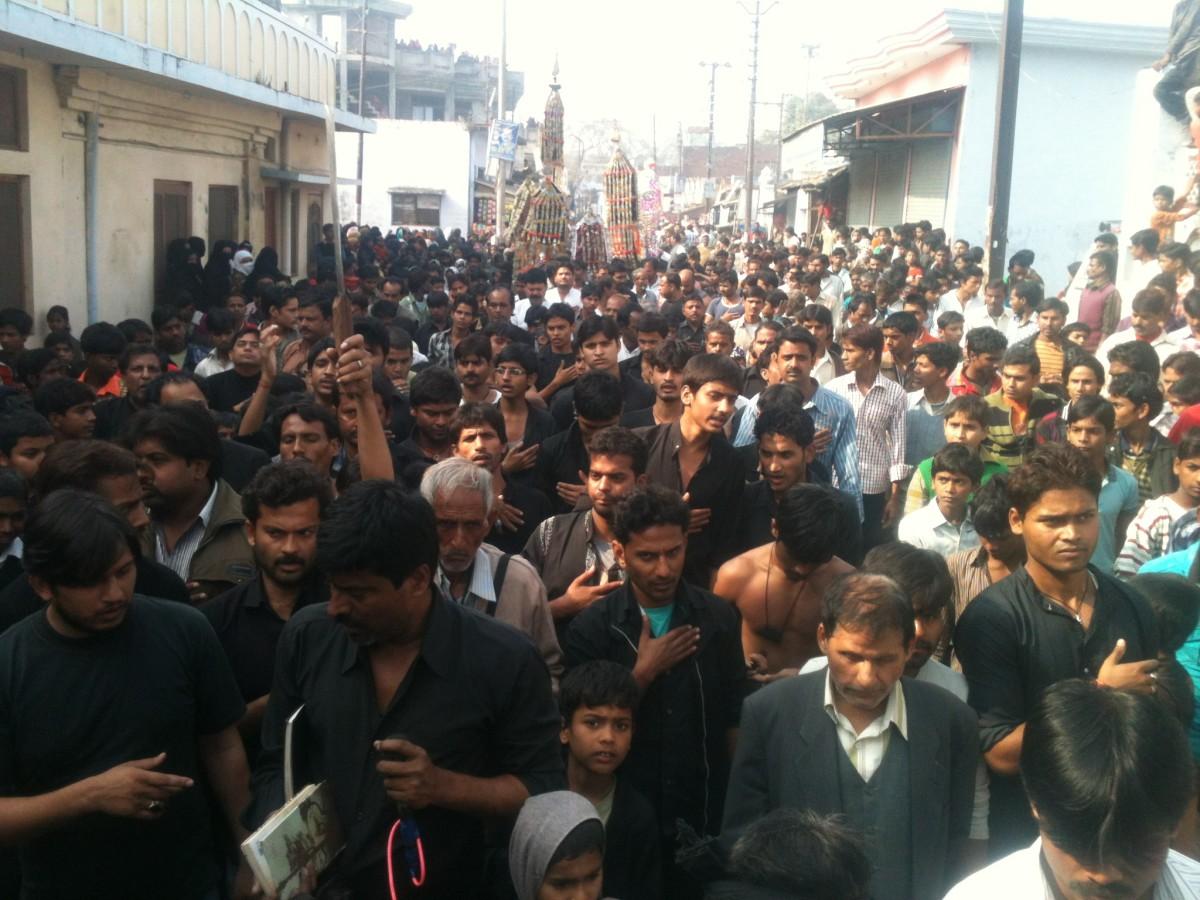 Shia Muslims performing in Ashura procession at Hardoi