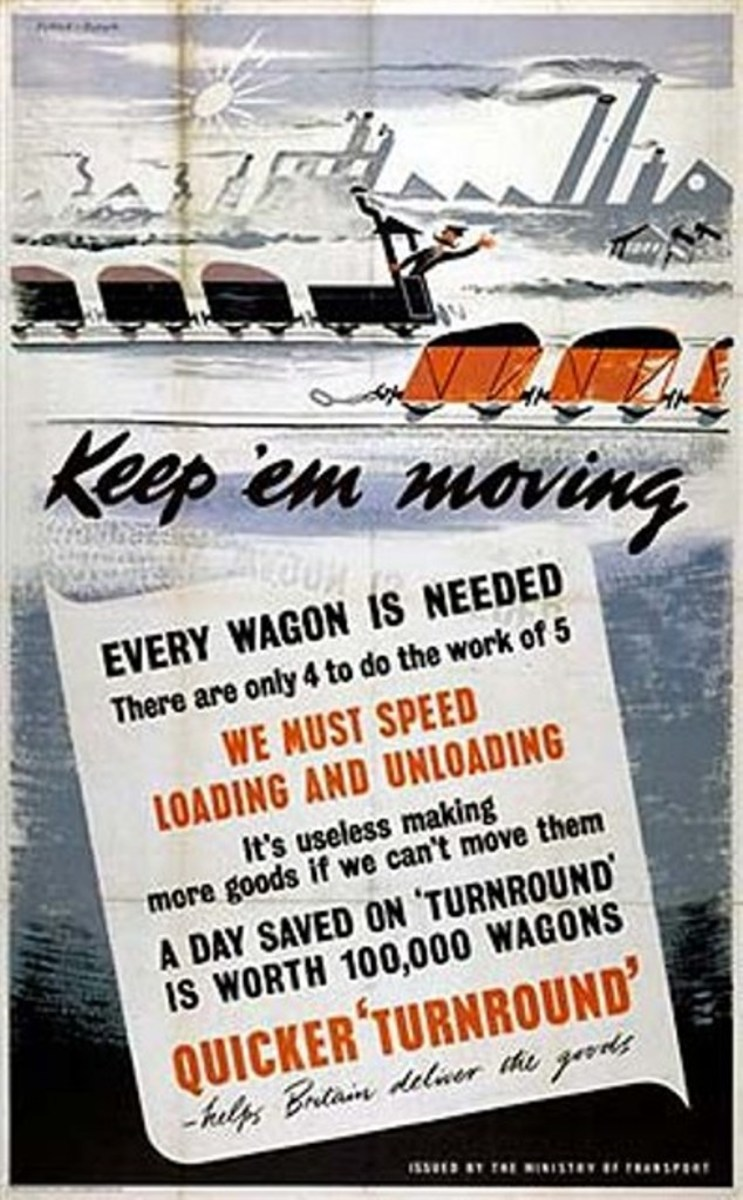 """Keep 'Em Moving"" - let the travelling public know the poster department's not just there for summer holidays, Christmas time or boat trains to the coast. There's war work to be done! ""Keep 'em busy, no slacking - come on you at the back!"""