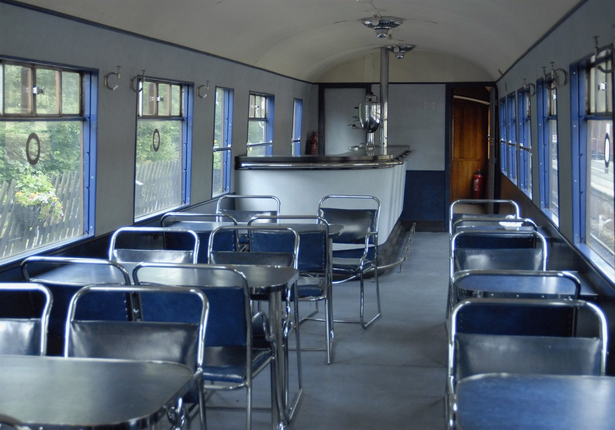 ...And on the inside, seen here at Grosmont Station, 1930s style chrome chairs and tables with chrome-surfaced service counter and urns for hot drinks