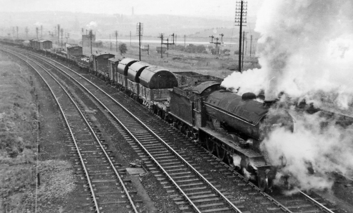 An ex-NER B16 4-6-0 takes a war freight by Beighton Holbrook Colliery sidings (south of Rotherham, then in the former West Riding coalfield  - picture taken by Ben Brooksbank