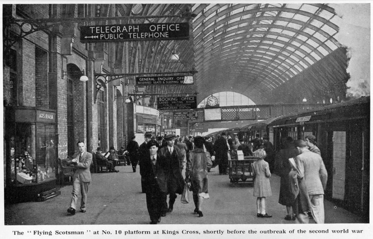 Pre-war scene at Platform 10, King's Cross station, and 10 am non-stop Flying Scotsman service awaits the 'off'