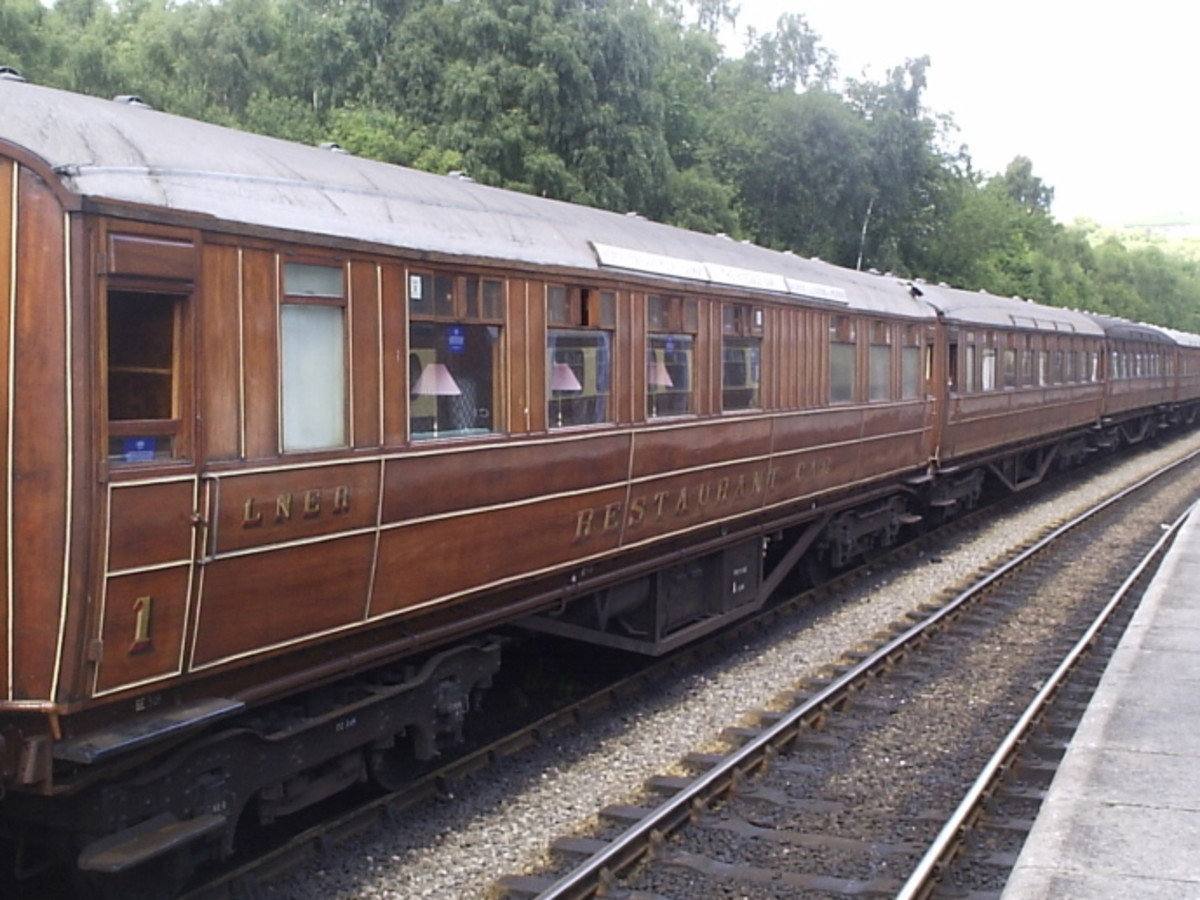 The LNER Coach Association (LNERCA) based at Pickering on the North Yorkshire Moors Railway (NYMR) restores various types of Gresley and Thompson stock - this is a Restaurant Car in teak finish as in pre-British Railways livery