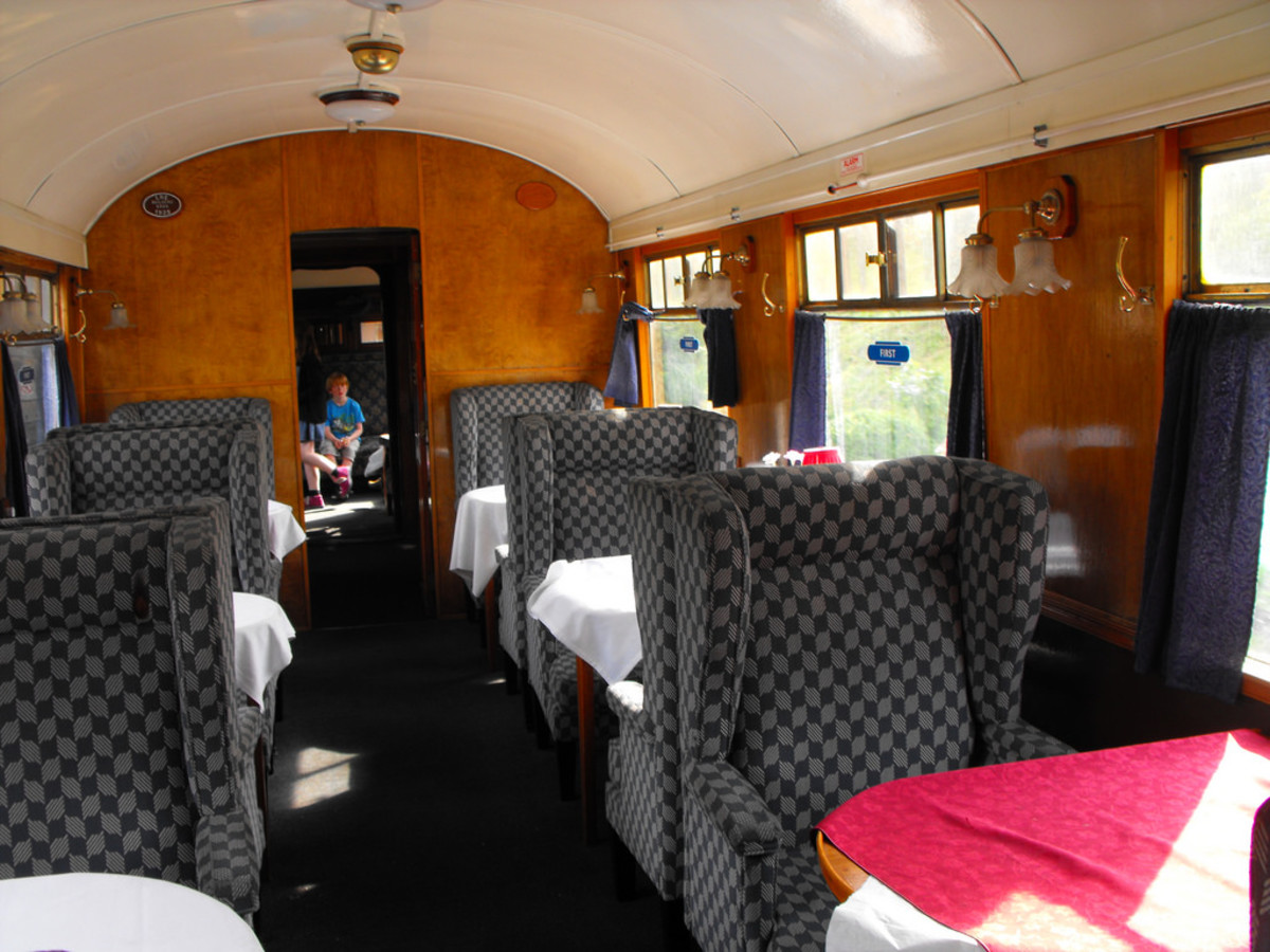 Restaurant Car interior - first class, one of the LNERCA vehicles used on evening dining services