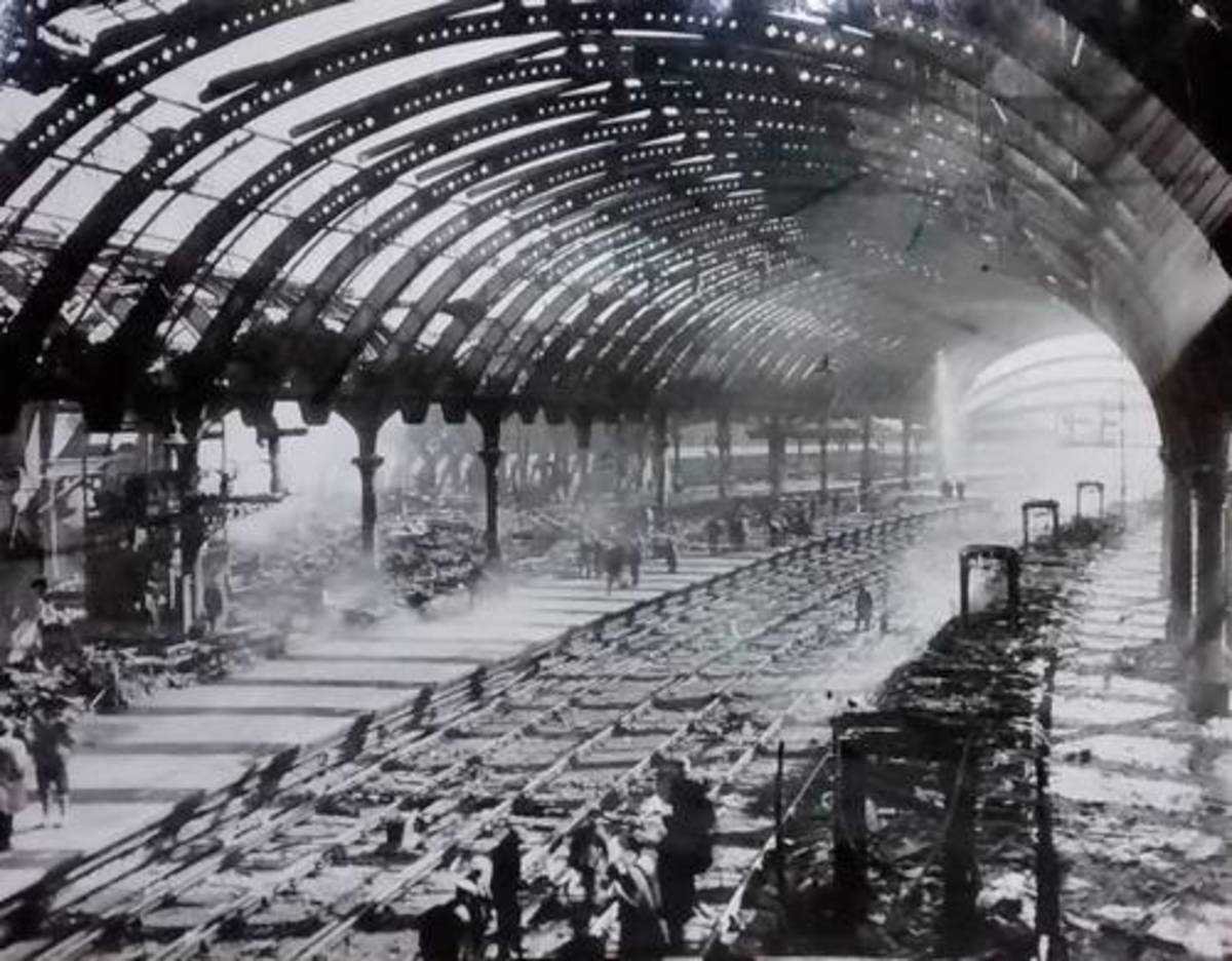 York - a large area at the south end of the station suffered damage - completely rebuilt as new after the war, true to NER architect Thomas Prosser's designs of 1877