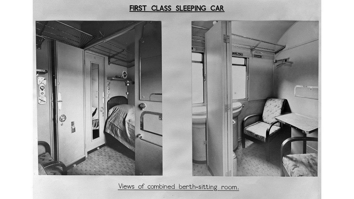First Class Sleeper Car interior - Anglo-Scottish services provided Sleeper Cars for through journeys to the north of Scotland (Inverness, Aberdeen, Dundee) on expresses. Sleeper Car trains comprised separate1st and 3rd Cars