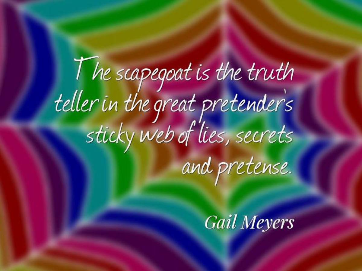 The scapegoat is the truth teller in the great pretenders sticky web of secret, lies, and pretense. - Gail Meyers   Note: We are regularly locked out of our FB account.
