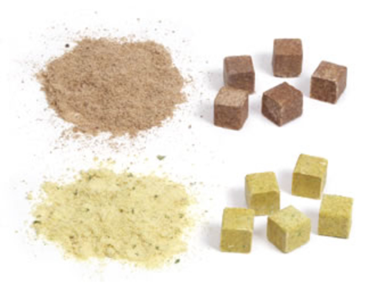 A bouillon cube is dehydrated bouillon or stock formed into a small cube 13 mm wide. It is typically made from dehydrated vegetables, meat stock, a small portion of fat, MSG, salt, and seasonings, shaped into a small cube.