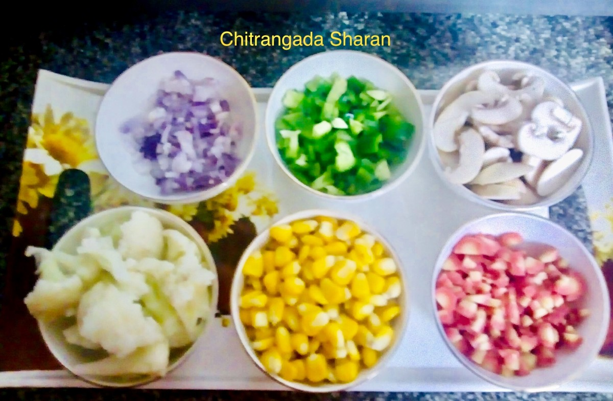 Vegetables, finely cut and boiled