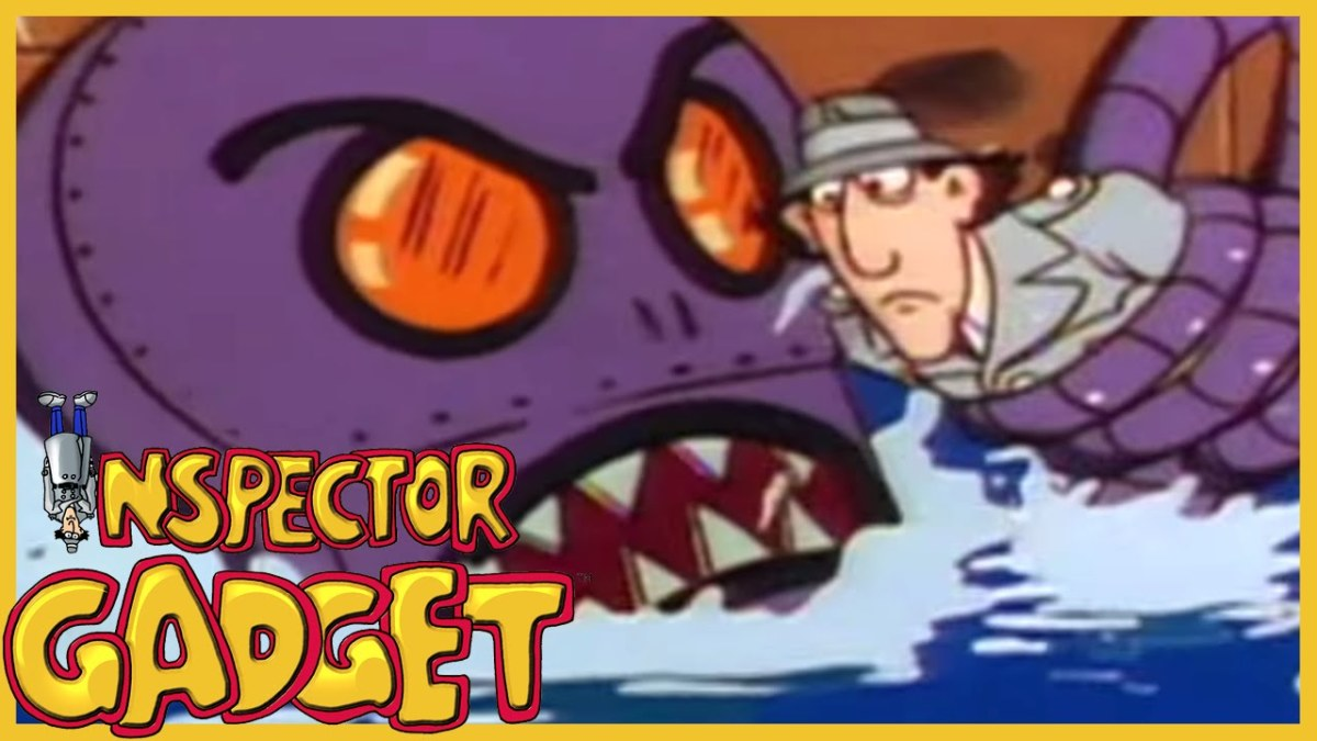 Inspector Gadget is seen here in the tentacles of the mechanical octopus.