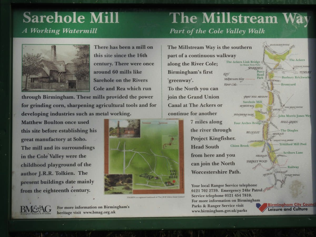 One of the many informative signposts dotted around Sarehole Mill and the surrounding area.