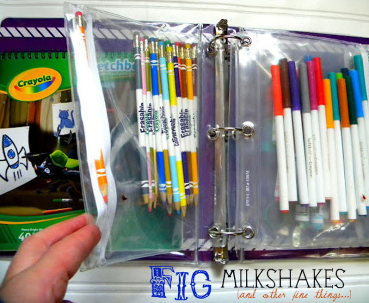 Art binders are another solution for all those stray pieces. It is a perfect solution for markers, pens, pencils and odds and ends. Learn how to create your own art bunder.
