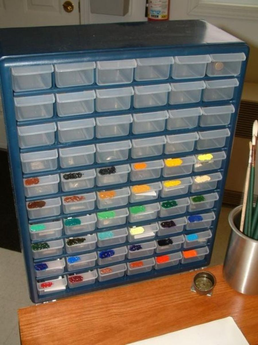 Paint drawers with a dab of paint shows you where to find the color you need