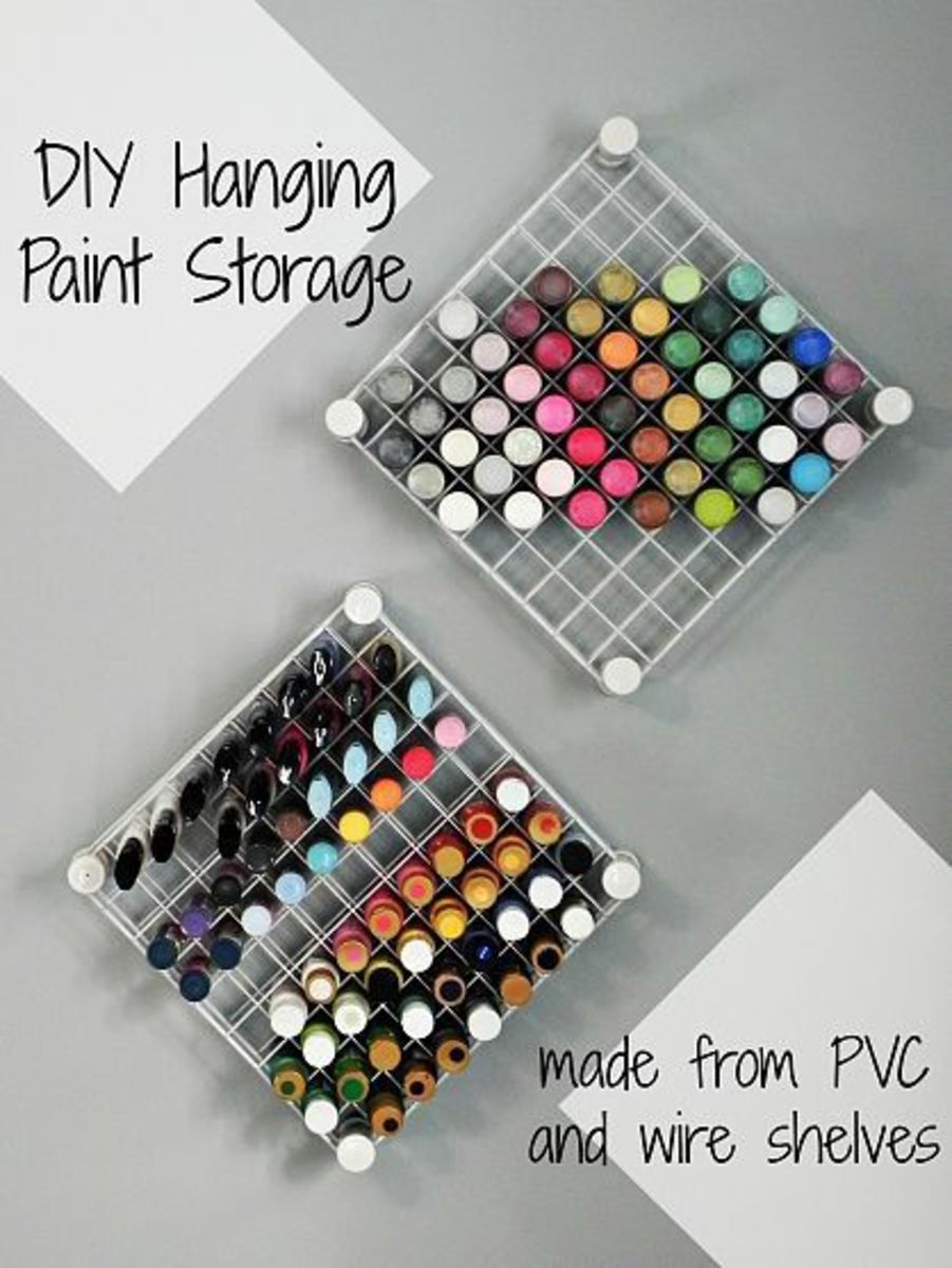 You can store your paints in this wall hanging project. Complete tutorial available