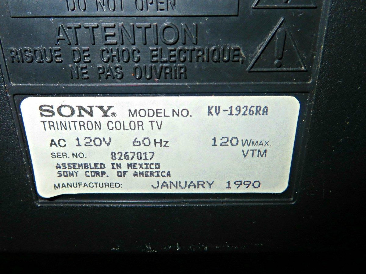 This Sony has a date of birth; it was January 1990. Back when companies were proud of their products they made sure the television had a birth date. . Assembled in Mexica for the Sony Corporation of America