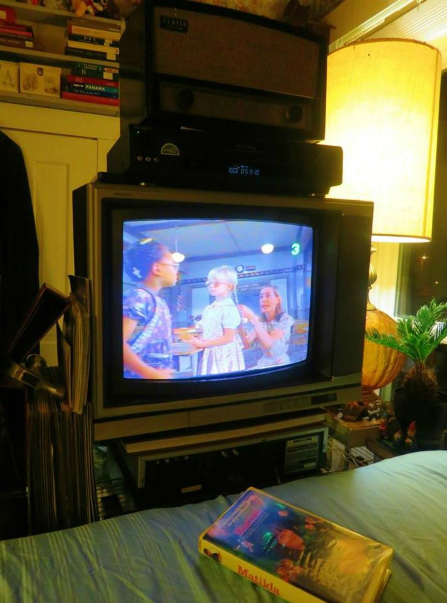 Matilda being played on the Sony Trinitron Color Television, Model KV-1926RA,  and a Sony VCR model SLV-779HF.  All left in a very dank shed through over six years of hellish steaming summers, & six years of freezing cold winters. All working great.