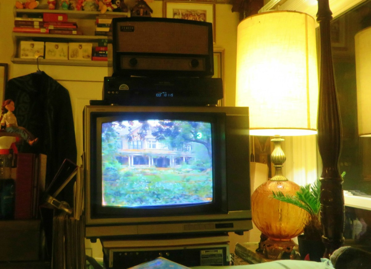 Sony Trinitron Color Television, Model KV-1926RA, playing a VHS tape of Matilda, the tape had also been out the very dank and un-air-conditioned shed for over six years. It is truly amazing how well these products were made.