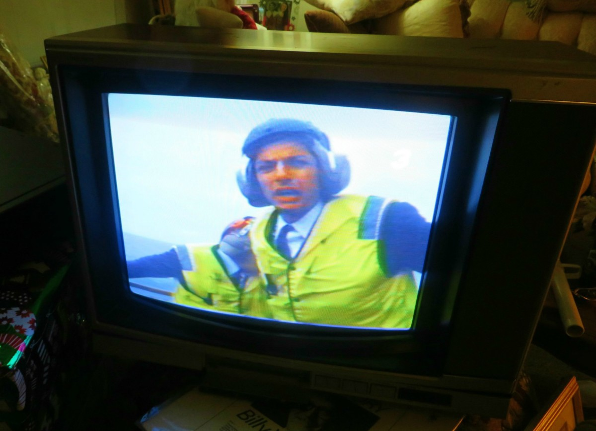 """The Sony Trinitron Color Television playing a VHS tape of """"The Right Stuff"""", from the same dank shed that she was in for six years. Both the television and the tape worked great. The Sony VCR was awesome as well."""