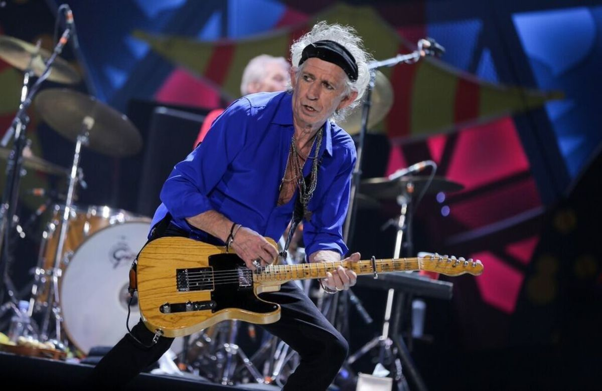 Keith Richards on stage with 'Malcolm,' his number two Telecaster.